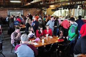 The busy tap room at Draught Works Brewery