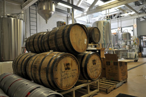 Barrel aging in the production area at Uberbrew