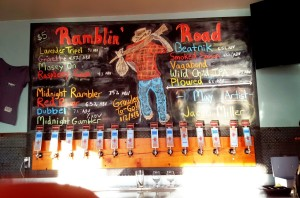 The lineup at Ramblin' Road Craft Brewery
